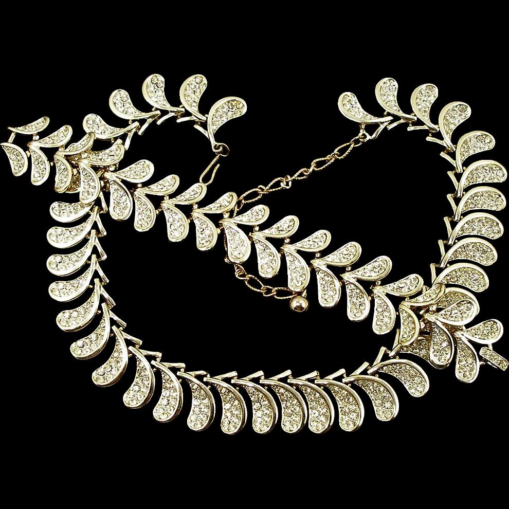 Vintage Kramer Crystal Rhinestone Necklace and Bracelet