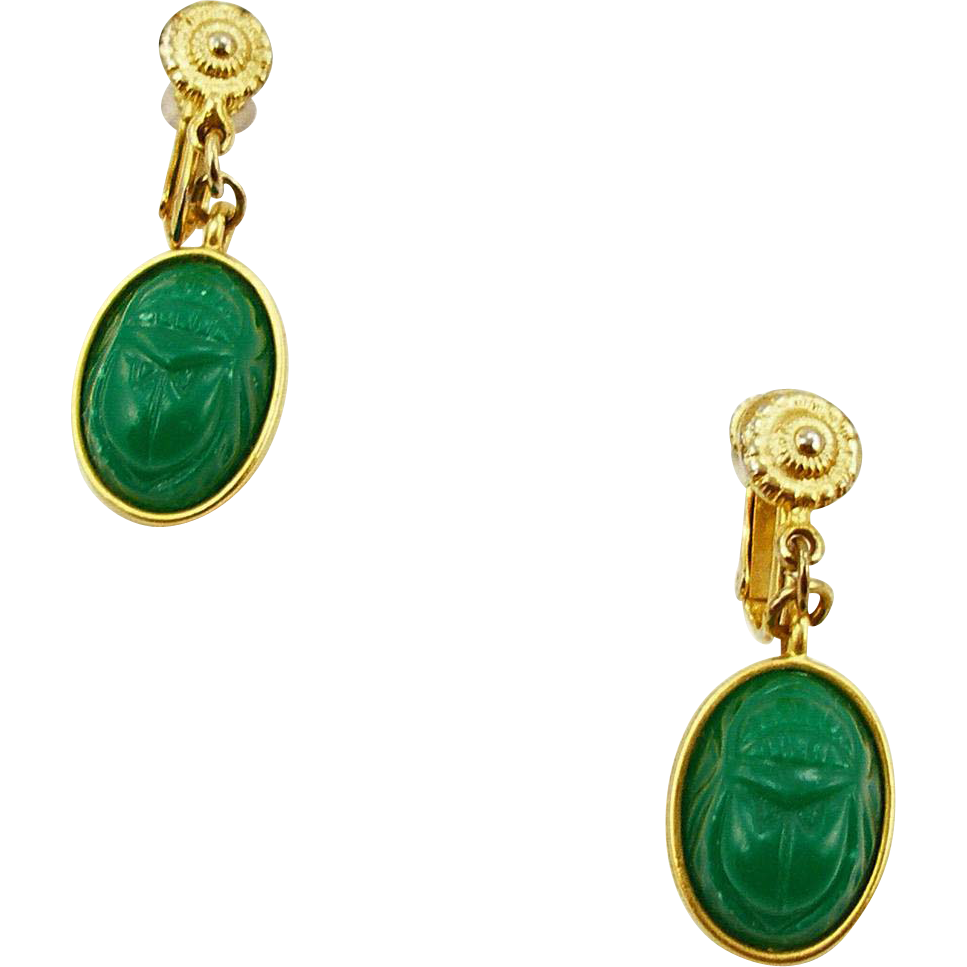 Vintage Signed Dauplaise Glass Scarab Earrings