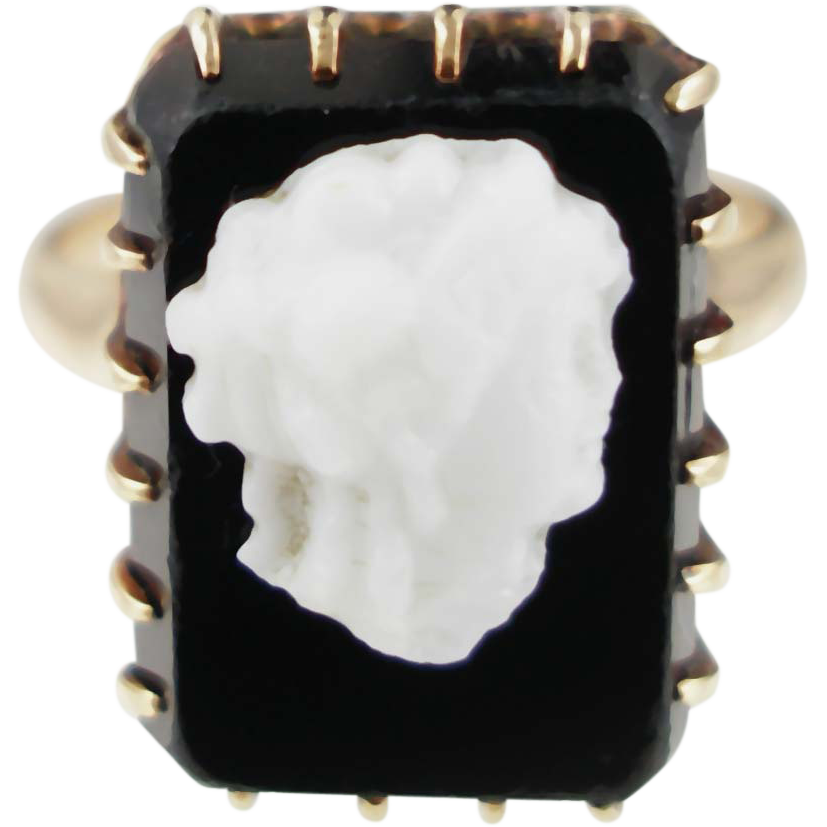 Late Victorian Hard Stone Cameo Ring 10K