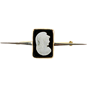Vintage 14K hardstone cameo bar pin