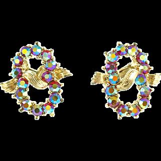 Vintage Coro Red Aurora Borealis Clip Earrings