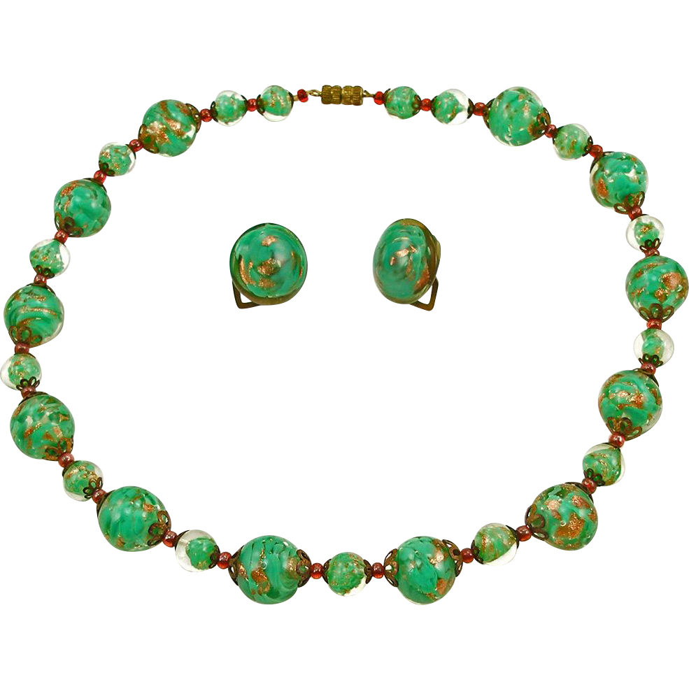 Vintage Murano Glass Necklace and Earrings