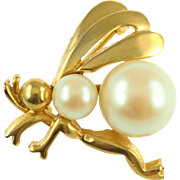 Vintage Trifari Faux Pearl Insect Pin