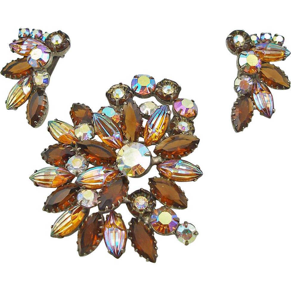 Vintage Topaz Art Glass Brooch & Earrings Set