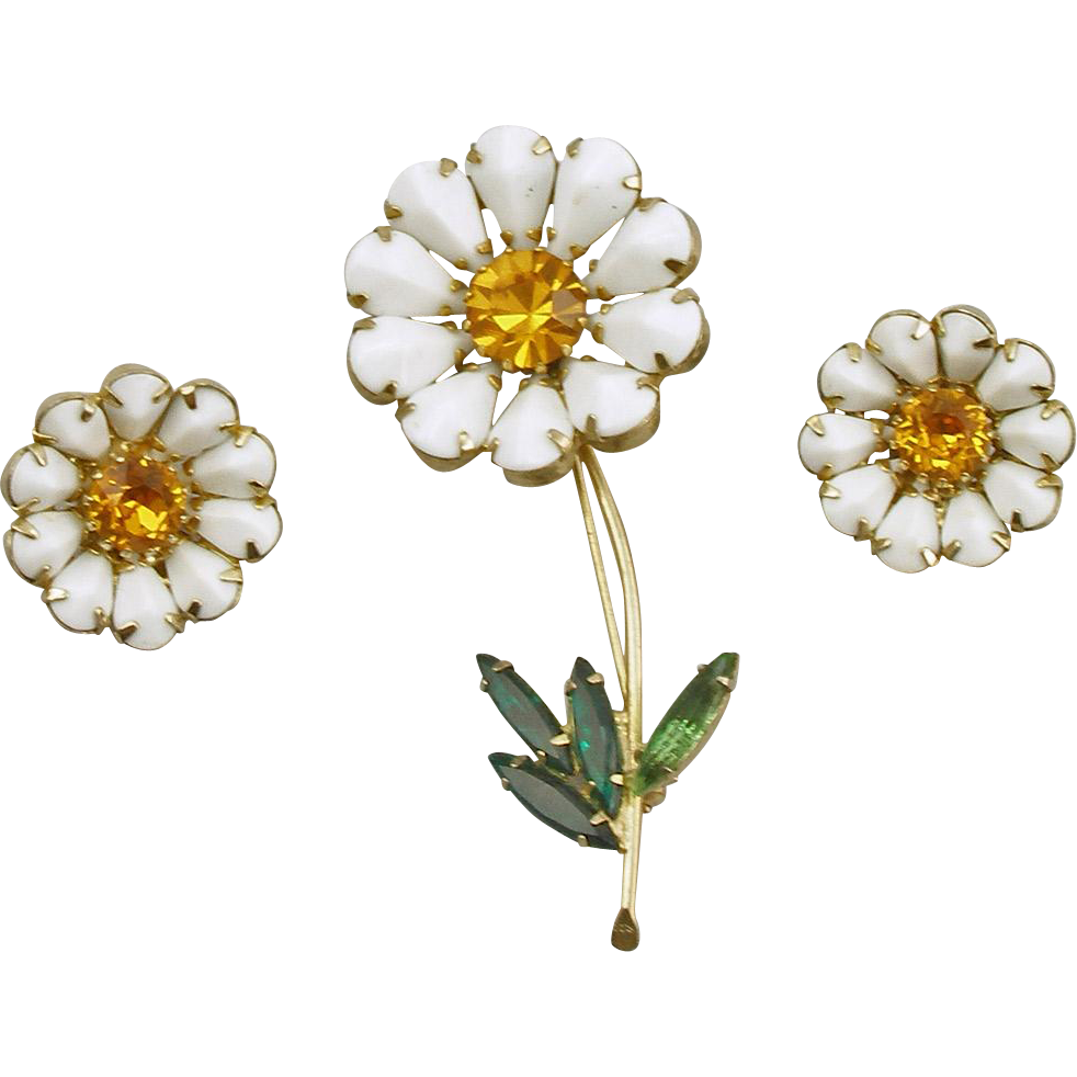 Vintage Weiss Daisy Pin and Earrings