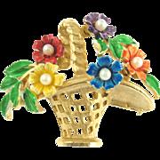 Vintage St. Labre Basket of Flowers Pin