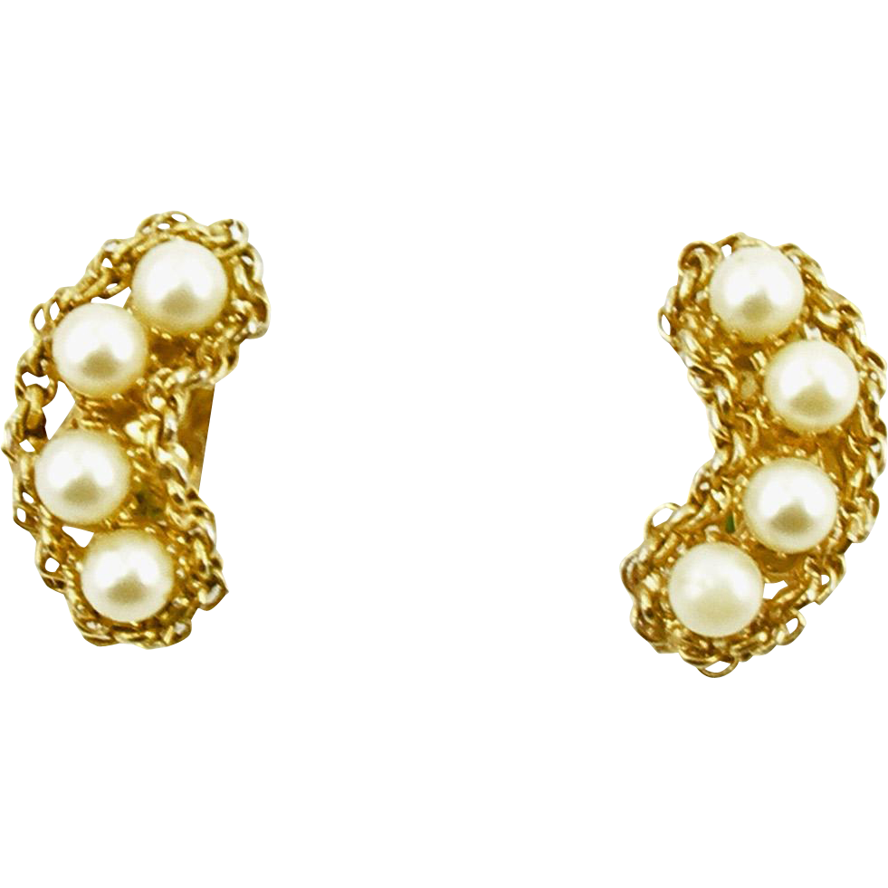 Vintage Signed Hobè Faux Pearl Clip Earrings