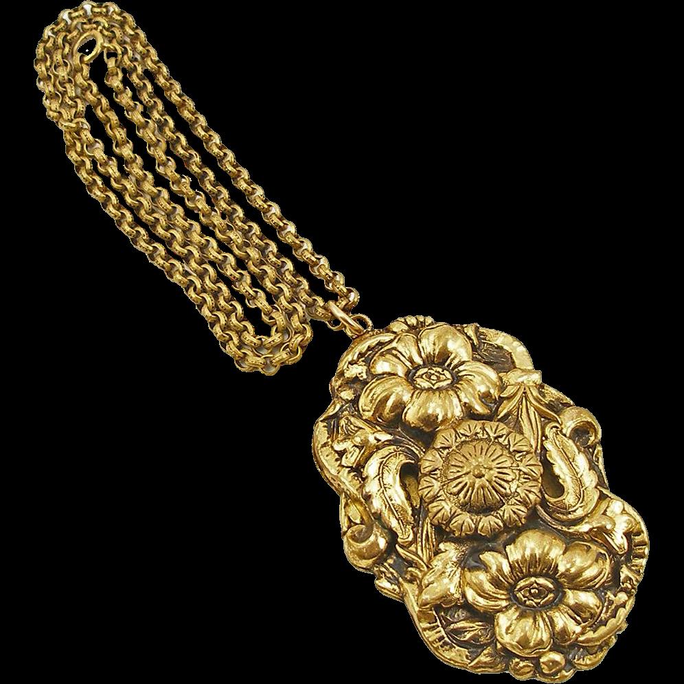 Vintage Art Nouveau Repousse Floral Pendant on Wide Link Chain