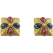 Vintage 1928 Red and Blue Cabochon Clip Earrings