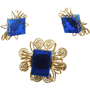 Vintage Gold Filled Wire with Blue Lucite Cubes Set