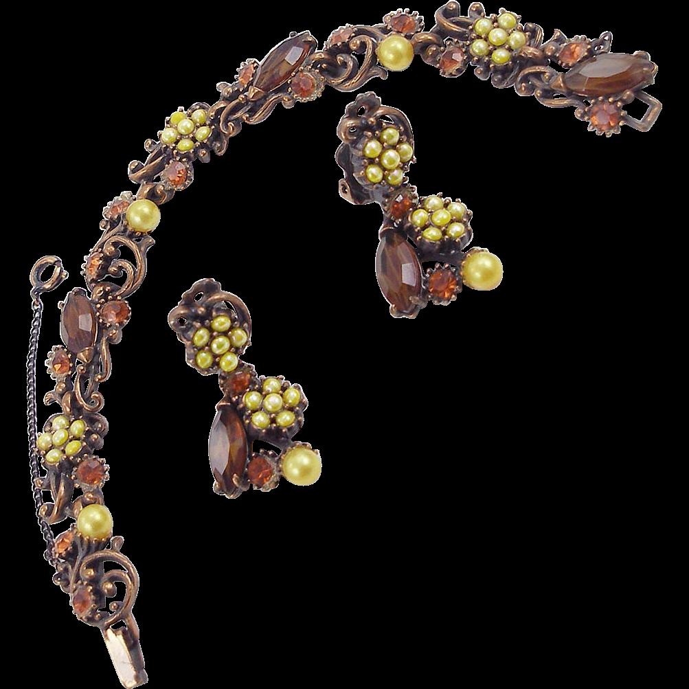 Vintage 1959 Hollycraft Copper Faux Pearl Bracelet and Earrings