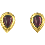 Vintage Doncaster Gold Tone Earrings with Purple Stone