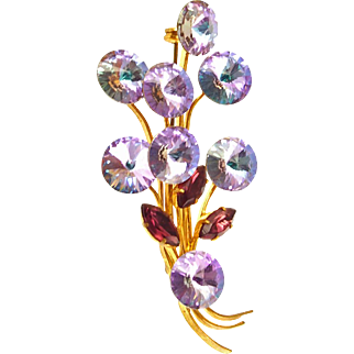 Unsigned Rivoli Bouquet Pin