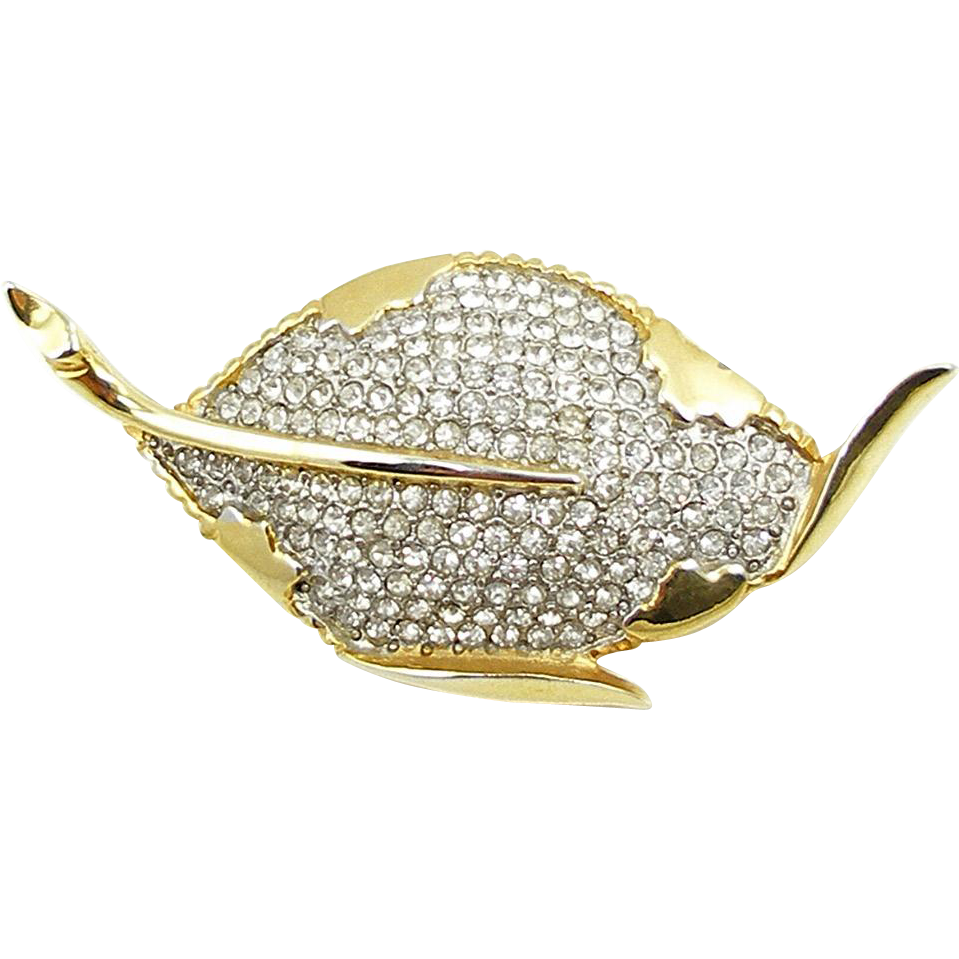 Vintage Signed Marvella Rhinestone Leaf Brooch