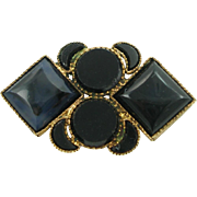 Antique Victorian Brass & Black Glass Pin
