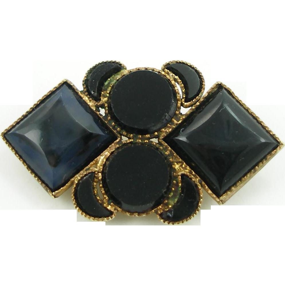 Antique Victorian Brass & Black Glass Pin