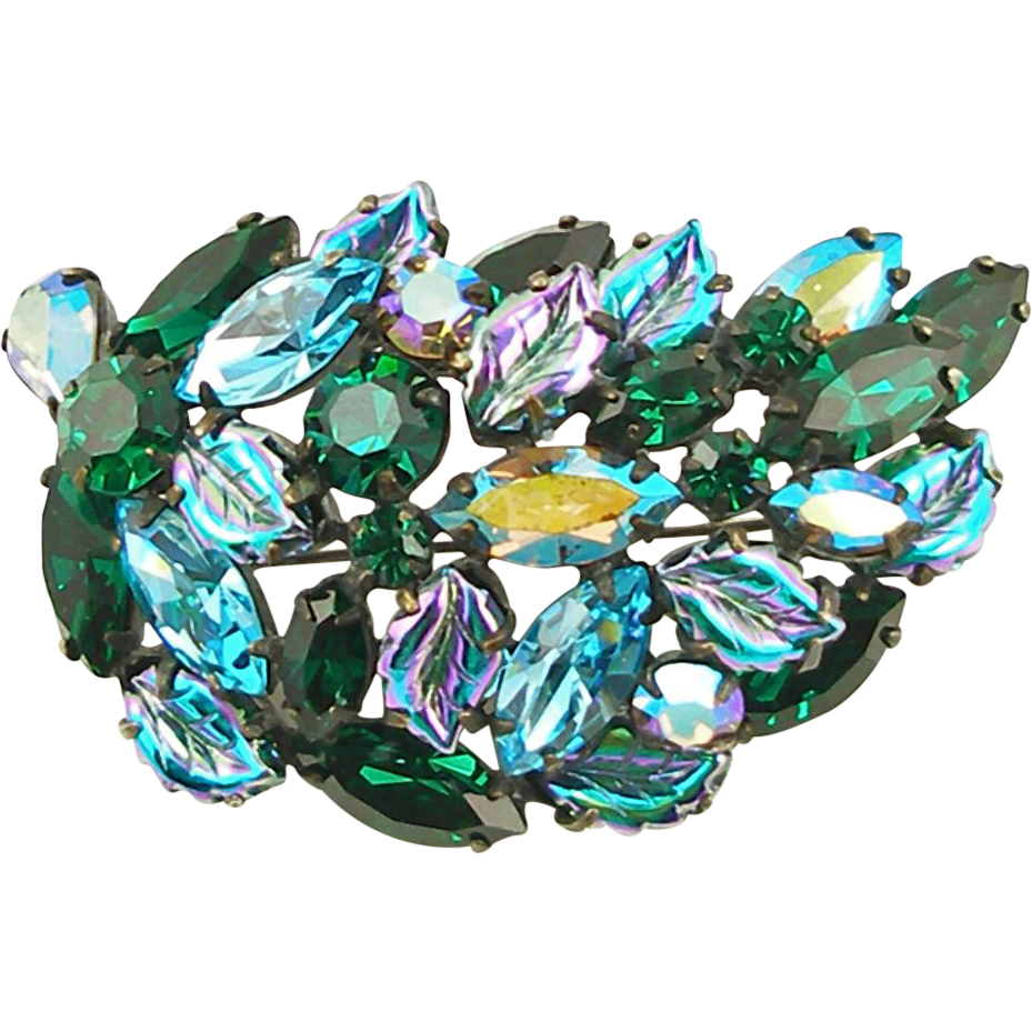 Vintage Signed Regency Blue and Green Leaf Pin
