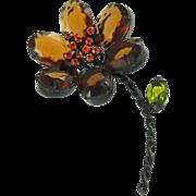 Vintage Unsigned Topaz Flower Pin