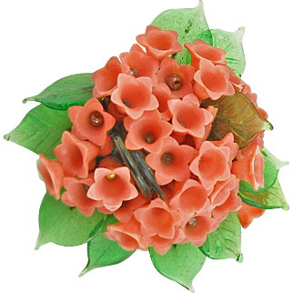 Vintage Miriam Haskell Coral Colored Flowers Pin