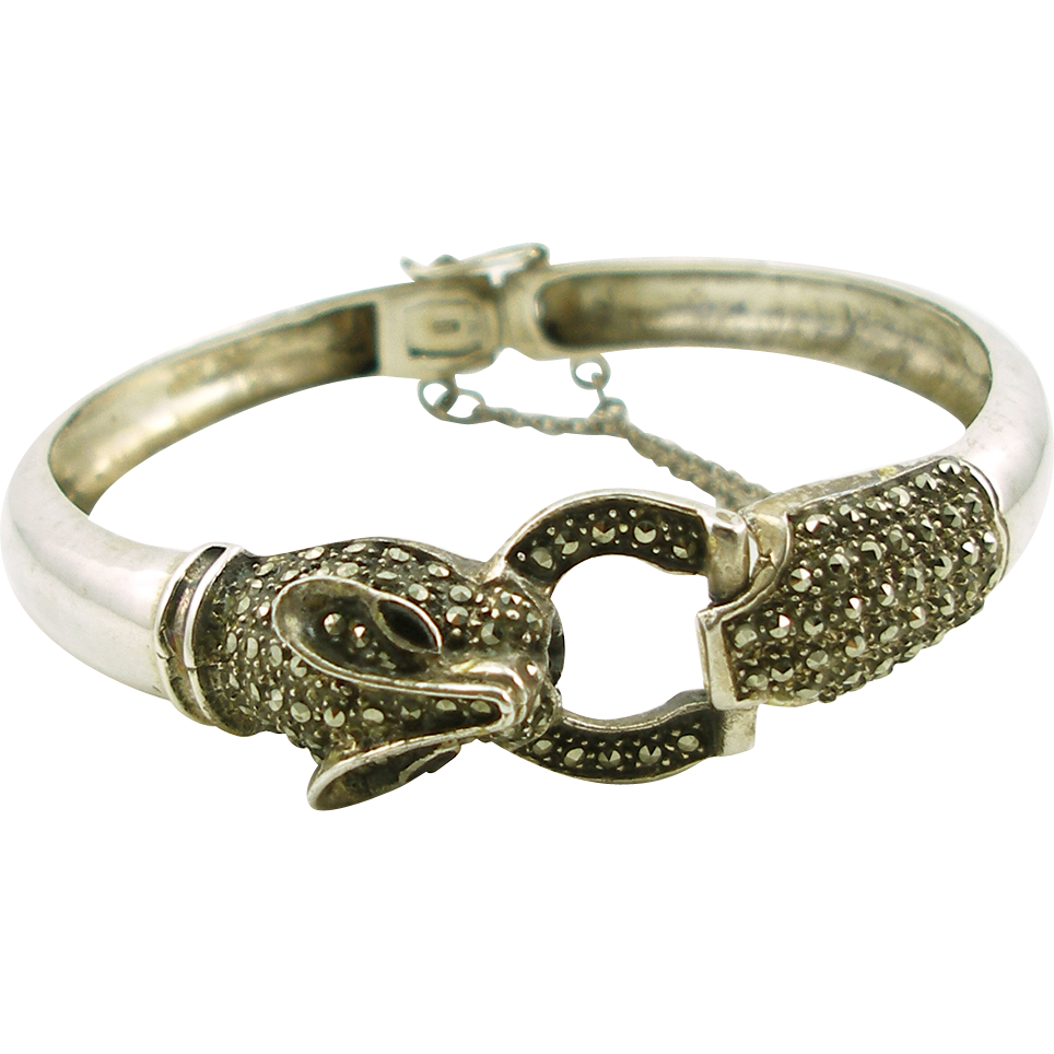 Vintage Sterling Animal Head Hinged Bangle Bracelet