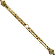 Antique Edwardian Bar Pin with Cultured Pearl