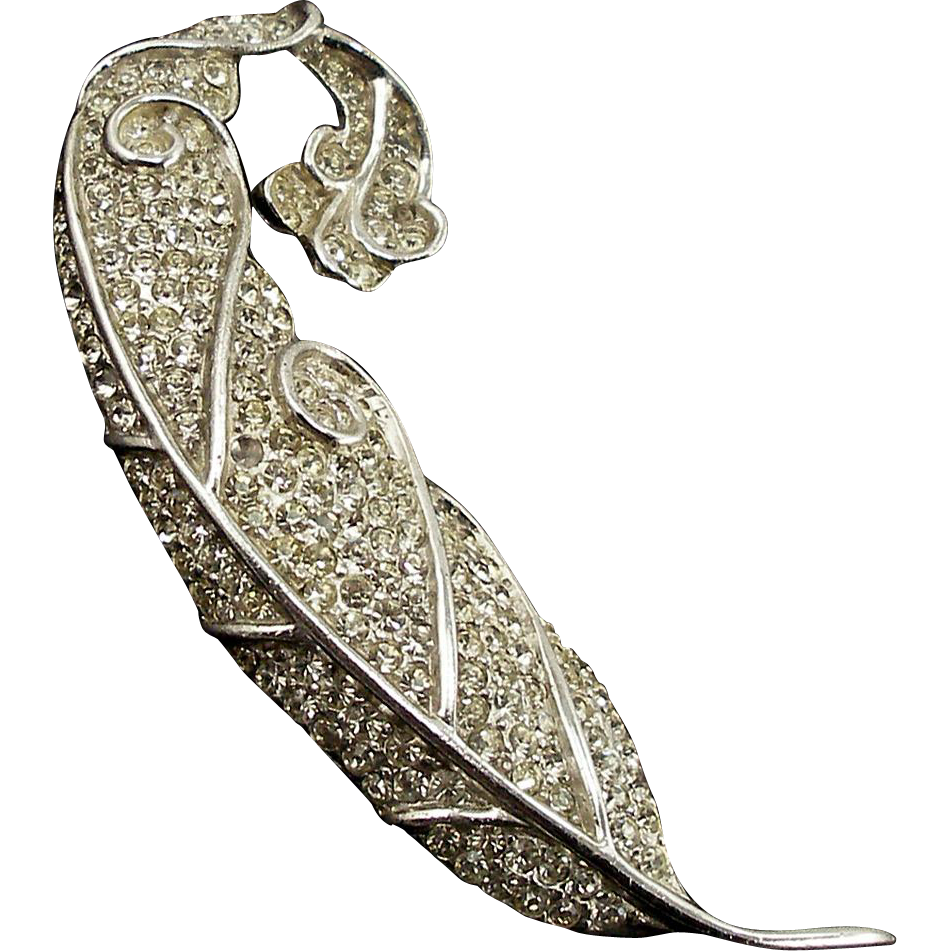 Vintage Signed Reja Pavé Feather Pin