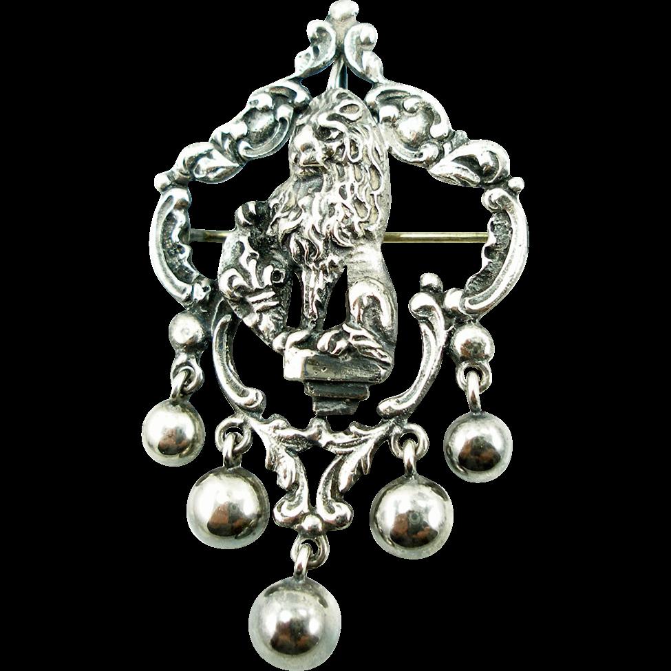 Vintage Coin Silver (800) Peruzzi Lion Pin Pendant