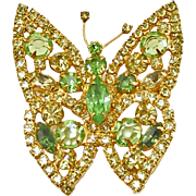 Unsigned Vintage Green and Yellow Butterfly Pin