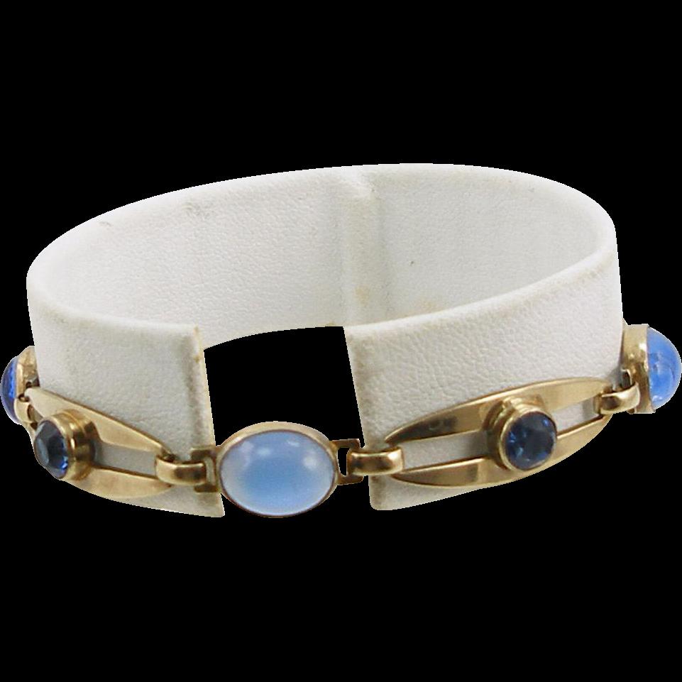 Vintage Sterling & 14K Symmetalic Faux Moonstone Bracelet
