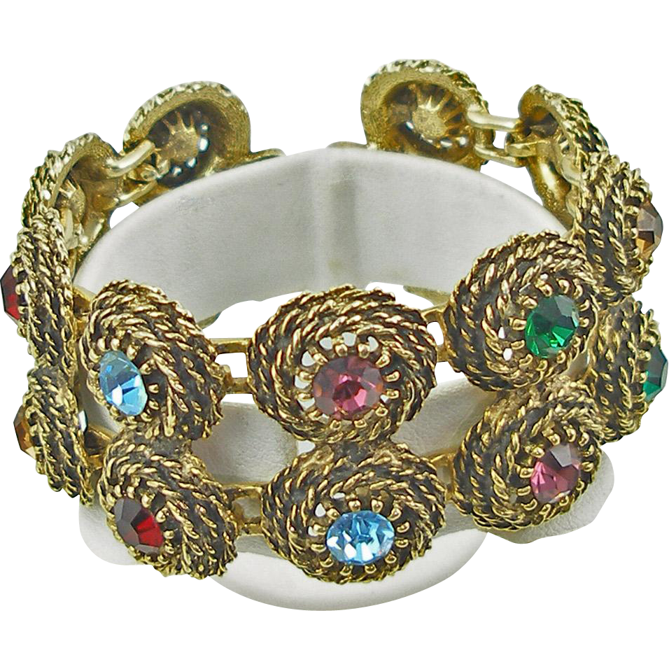 Vintage Signed Judy Lee Coiled Rope Bracelet