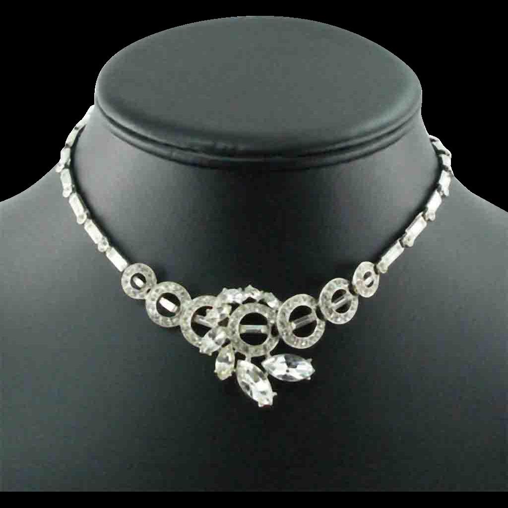 Vintage ORA Silver Tone Rhinestone Necklace
