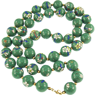 Vintage Green Chinese Cloisonné Bead Necklace