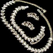 Vintage Trilliant Cut Crystal Stone Parure