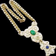 Vintage Signed Florenza Enameled Pendant on Beaded Chain