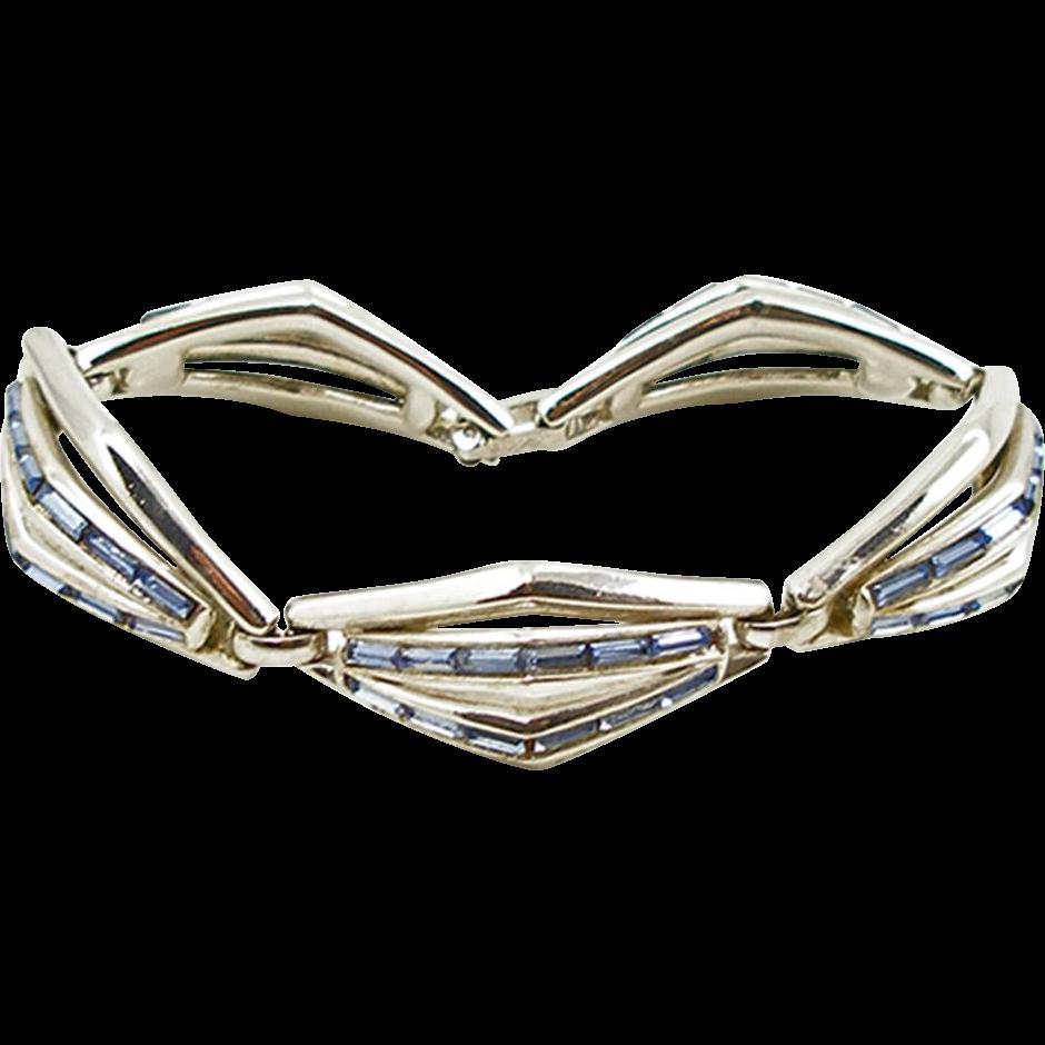 Vintage Trifari Light Sapphire Rhinestone Bracelet with Geometric Design