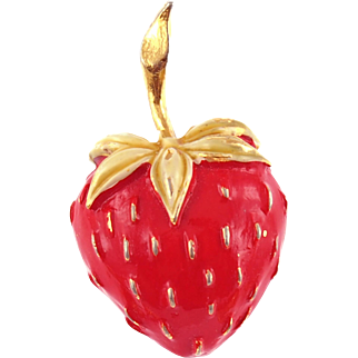 Vintage Enameled Strawberry Scatter Pin