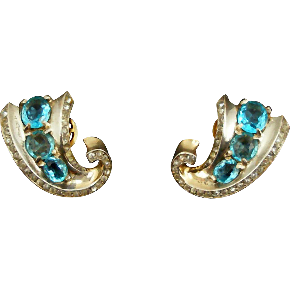 Vintage Trifari Sterling Clip Earrings with Blue Stones