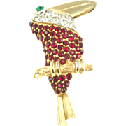 Unsigned Vintage Rhinestone Toucan Pin