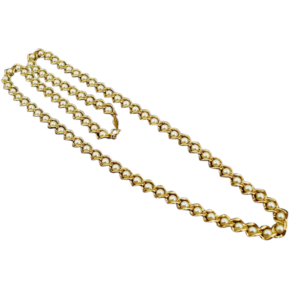 Vintage Napier Faux Pearl and Golden Link Necklace