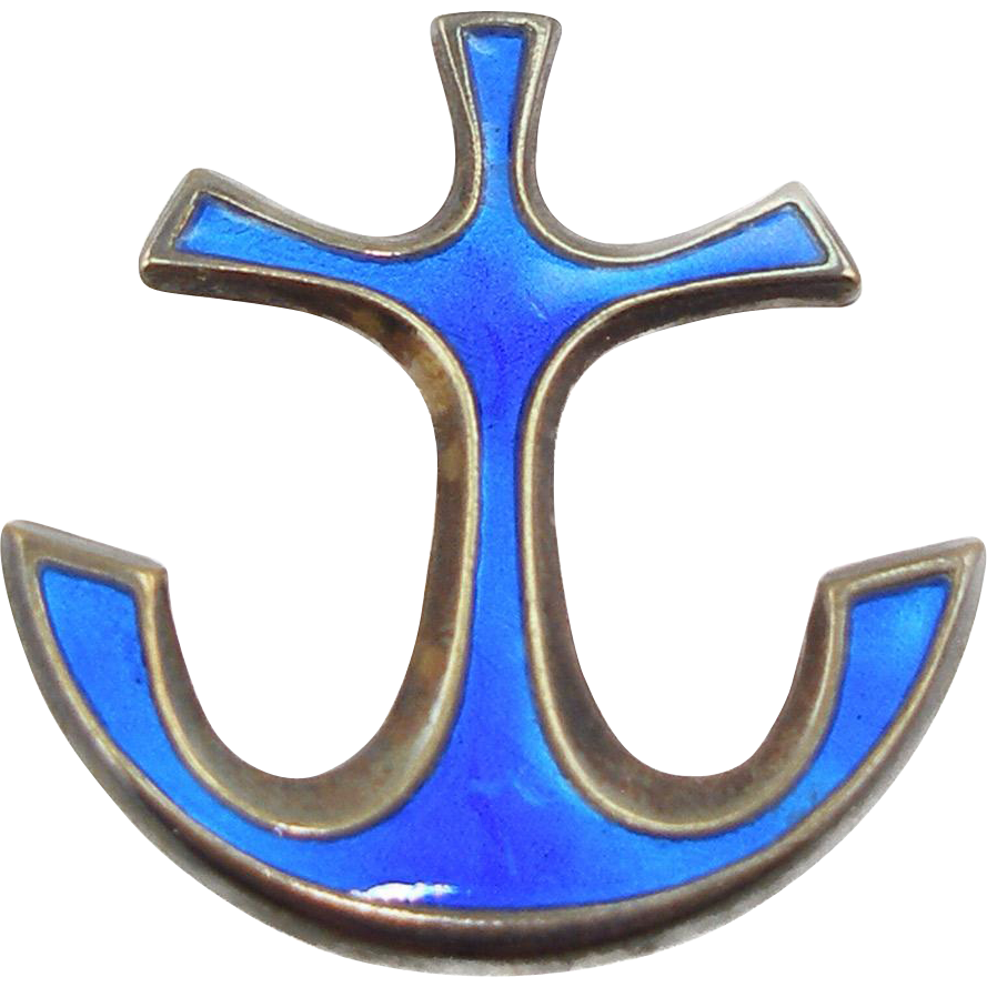 Vintage Signed David Andersen Sterling & Enamel Anchor Pin