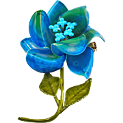 Vintage 1960's Blue Green Enameled Flower Pin