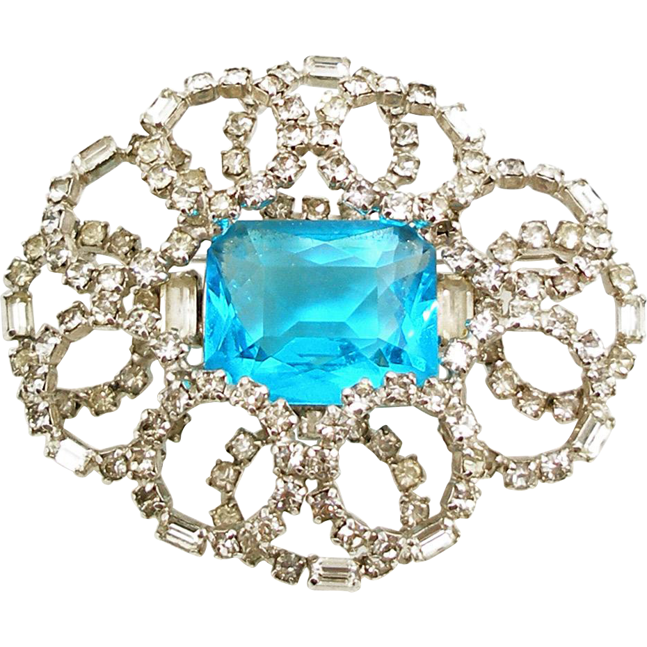 Vintage Kramer Faux Blue Topaz & Diamond Brooch