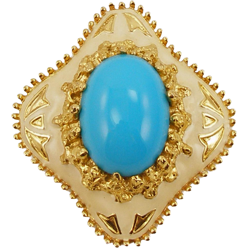 Vintage Signed Jomaz Turquoise and Enamel Pin or Pendant