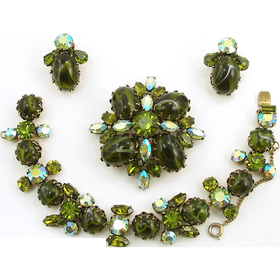 Vintage Signed Regency Green Art Glass Parure