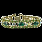 Vintage Unsigned Green Rhinestone Bracelet