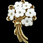 Vintage 1951 Signed Trifari White Floral Pin