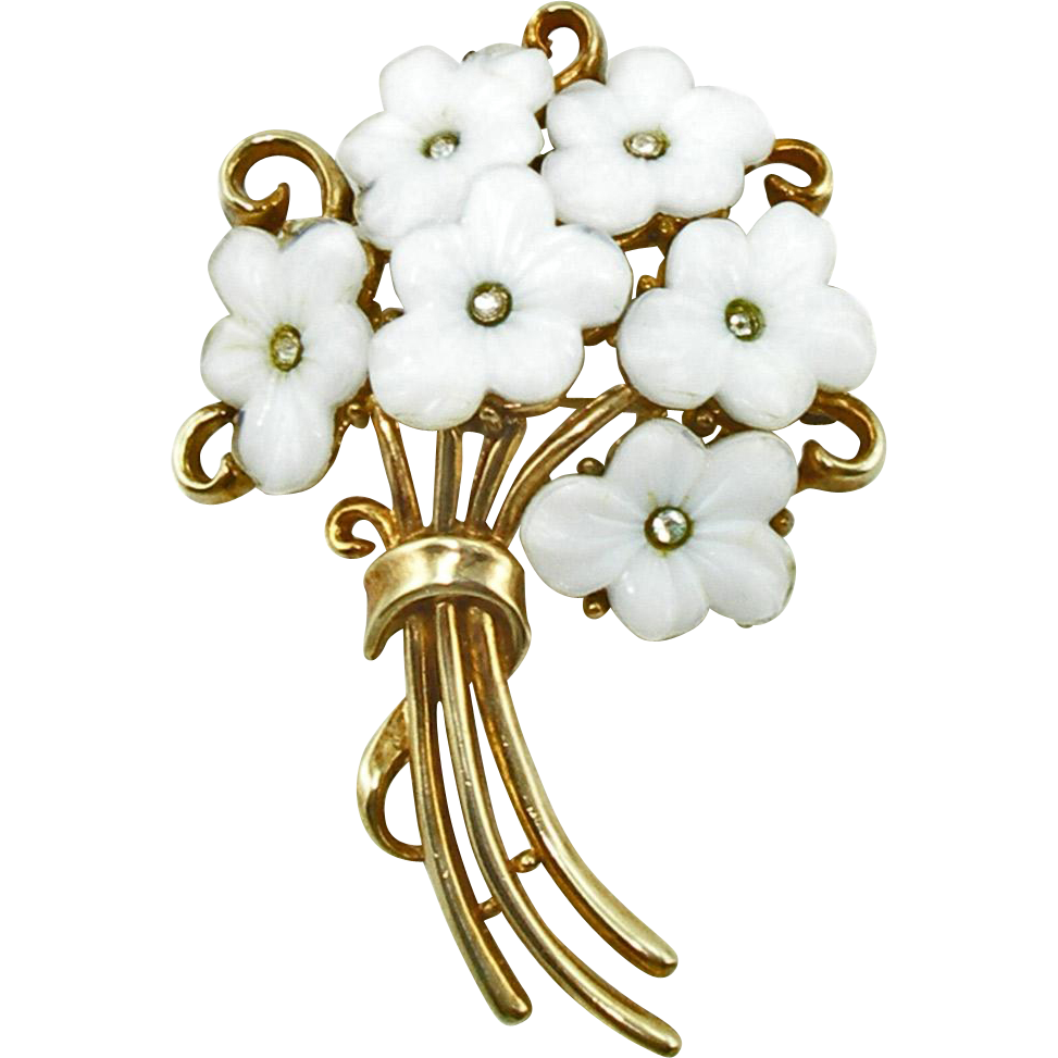 Vintage 1951 Signed Trifari White Floral Pin
