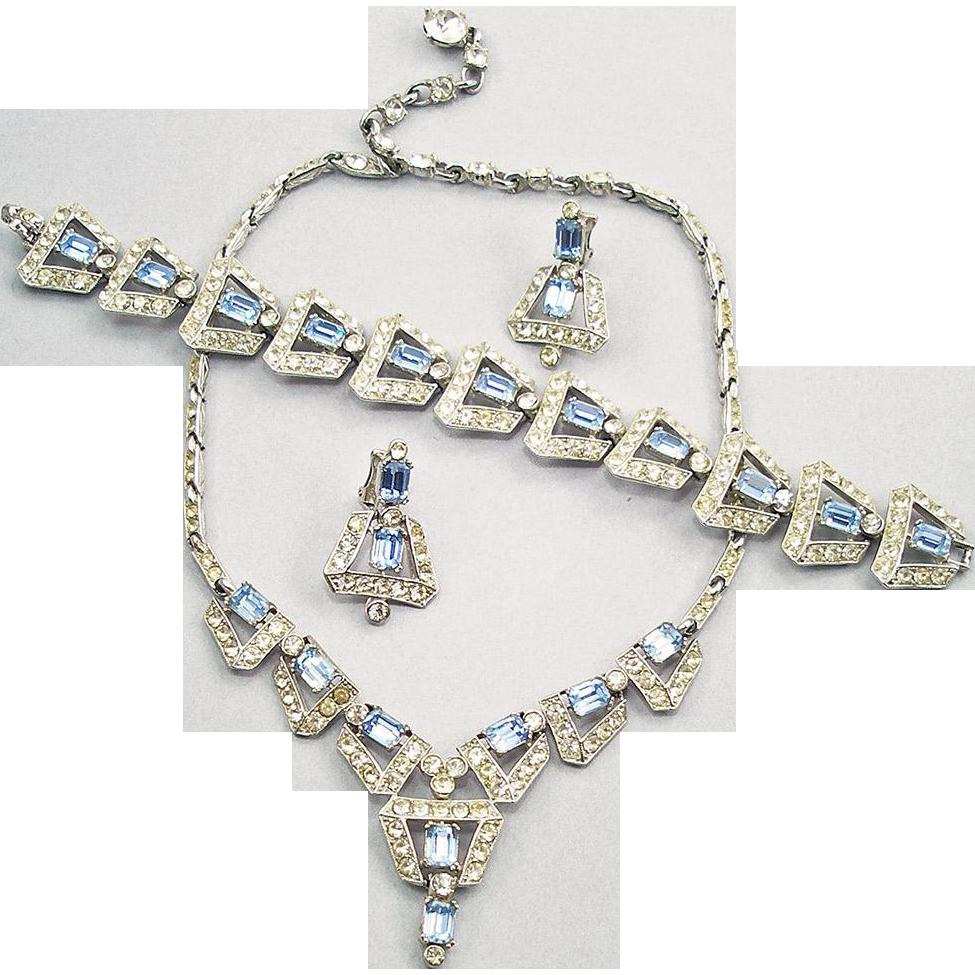Vintage Signed Albion Aquamarine & Crystal Rhinestone Parure