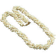 Vintage Twisted Rope Faux Pearl Necklace