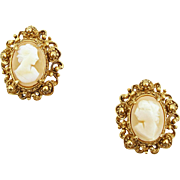 Vintage Signed Florenza Shell Cameo Clip Earrings